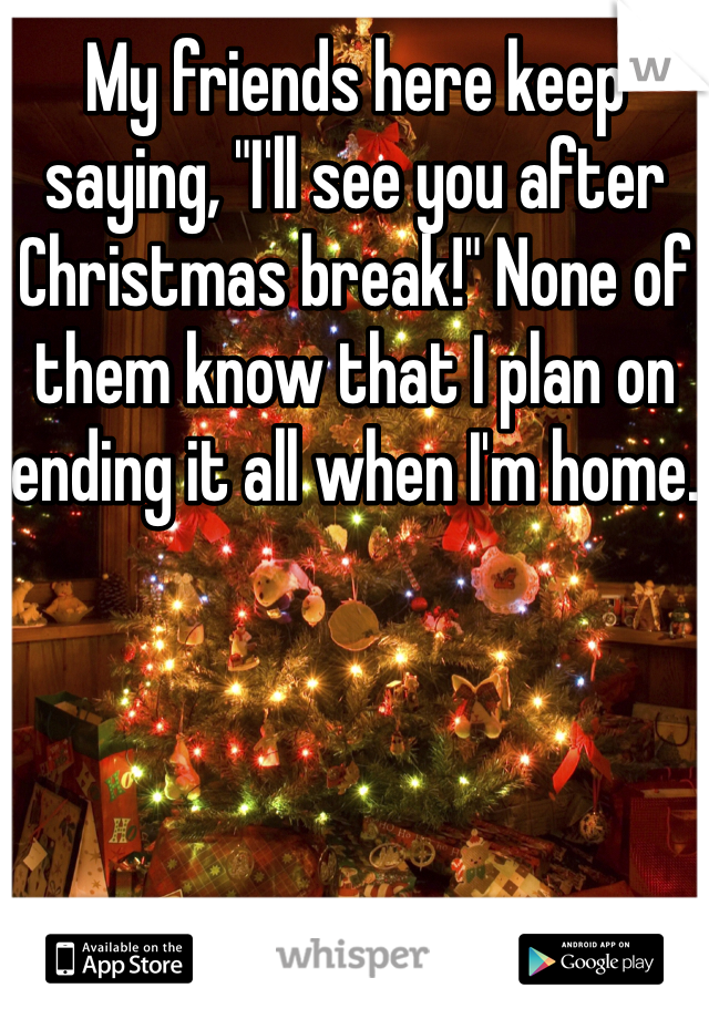 """My friends here keep saying, """"I'll see you after Christmas break!"""" None of them know that I plan on ending it all when I'm home."""