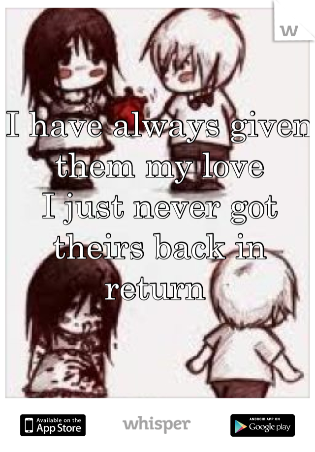 I have always given them my love  I just never got theirs back in return