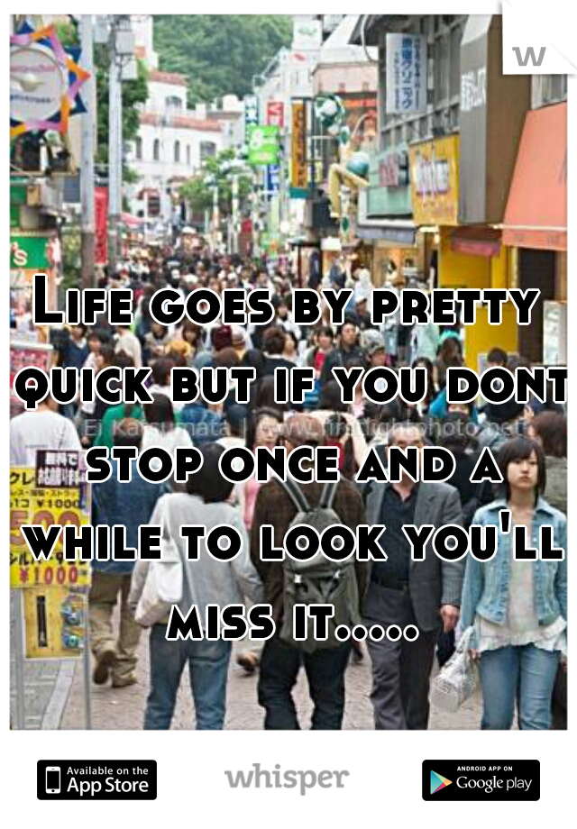 Life goes by pretty quick but if you dont stop once and a while to look you'll miss it.....