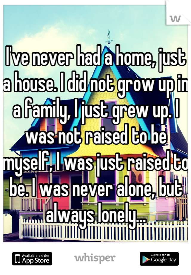 I've never had a home, just a house. I did not grow up in a family, I just grew up. I was not raised to be myself, I was just raised to be. I was never alone, but always lonely...