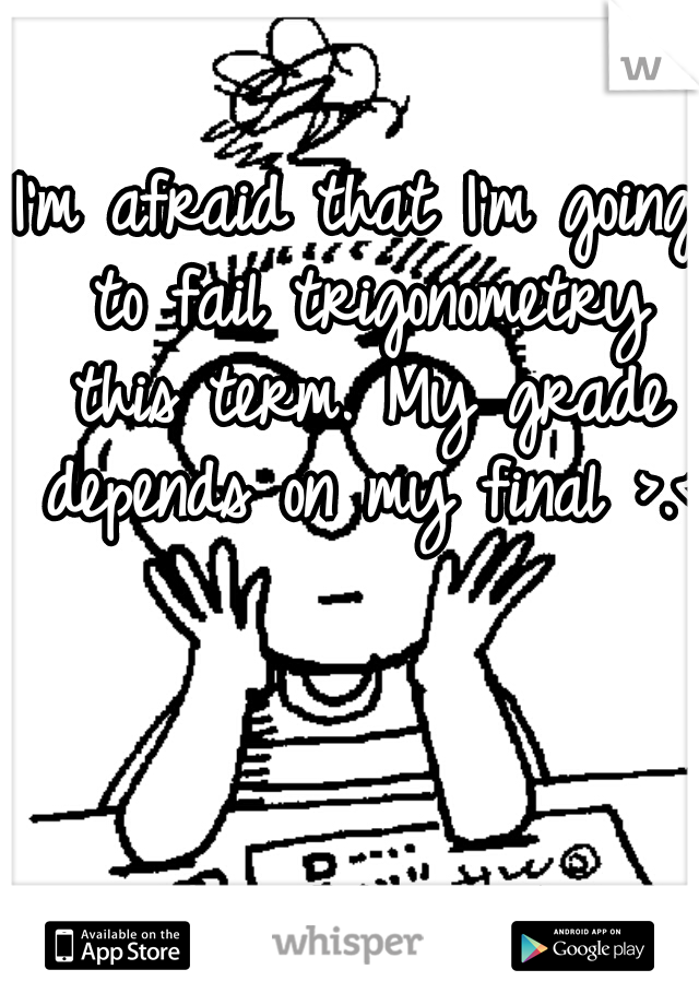I'm afraid that I'm going to fail trigonometry this term. My grade depends on my final >.<