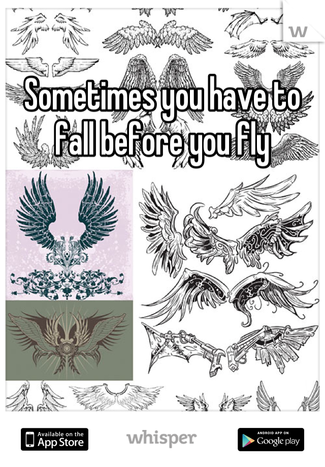 Sometimes you have to fall before you fly