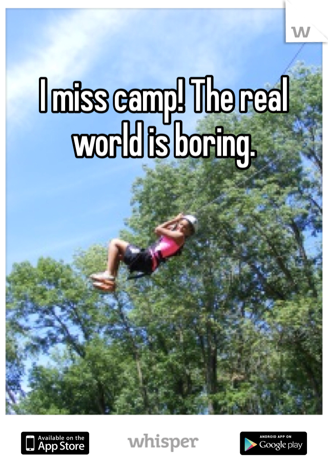 I miss camp! The real world is boring.