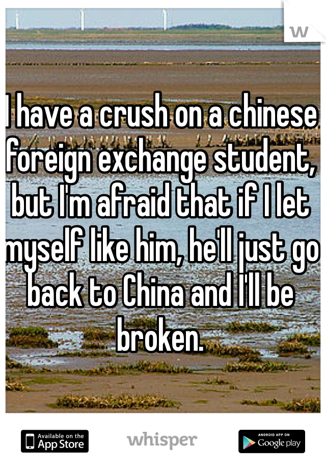 I have a crush on a chinese foreign exchange student, but I'm afraid that if I let myself like him, he'll just go back to China and I'll be broken.