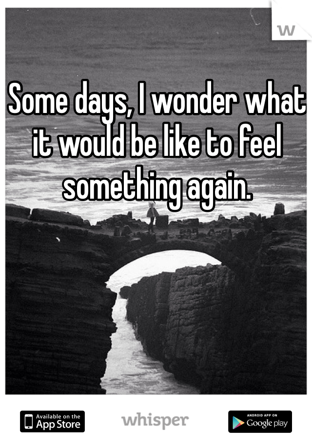 Some days, I wonder what it would be like to feel something again.