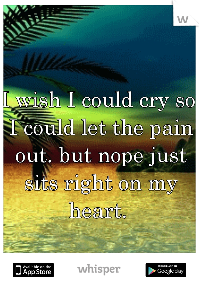 I wish I could cry so I could let the pain out. but nope just sits right on my heart.