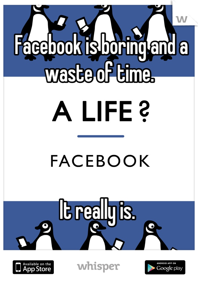 Facebook is boring and a waste of time.      It really is.