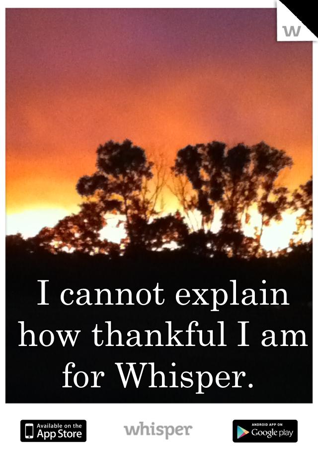 I cannot explain how thankful I am for Whisper.