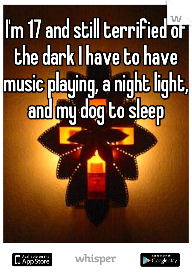 I'm 17 and still terrified of the dark I have to have music playing, a night light, and my dog to sleep