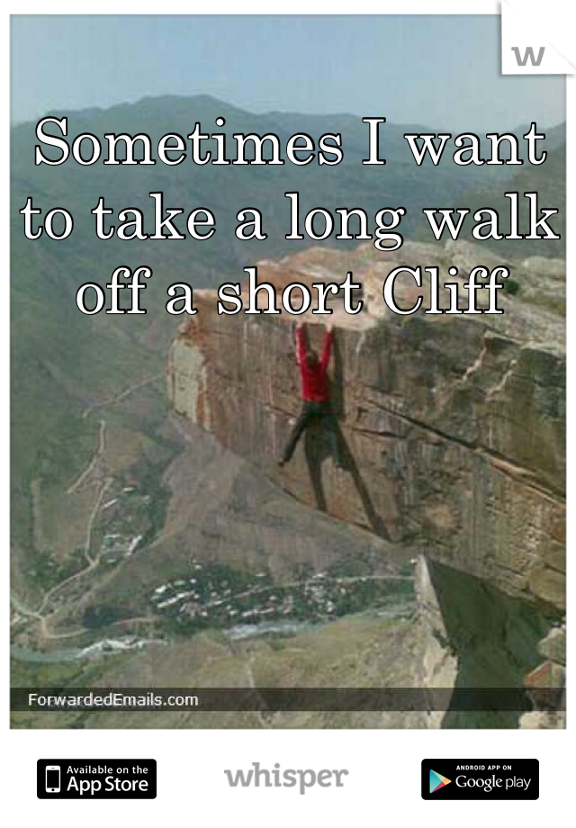 Sometimes I want to take a long walk off a short Cliff