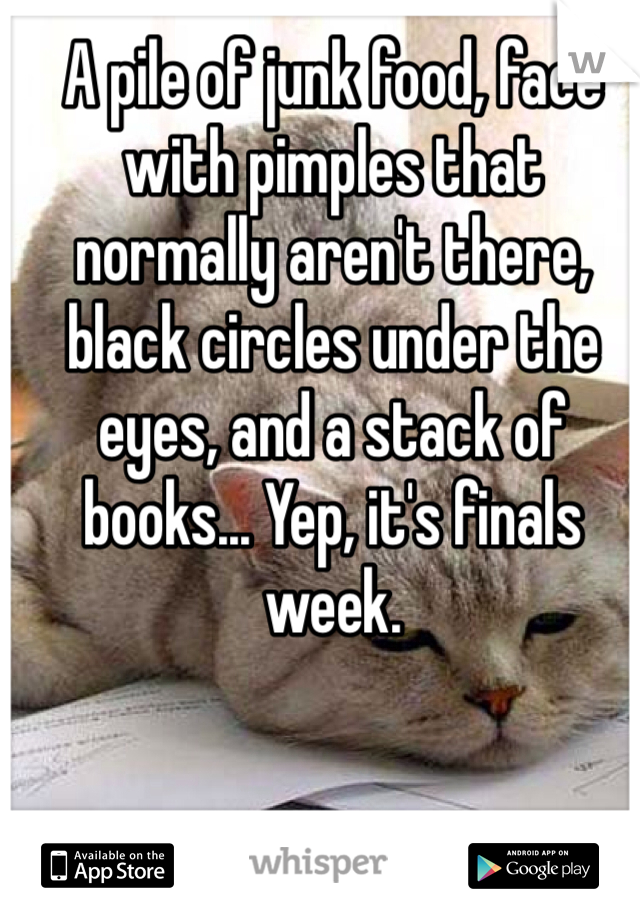 A pile of junk food, face with pimples that normally aren't there, black circles under the eyes, and a stack of books... Yep, it's finals week.