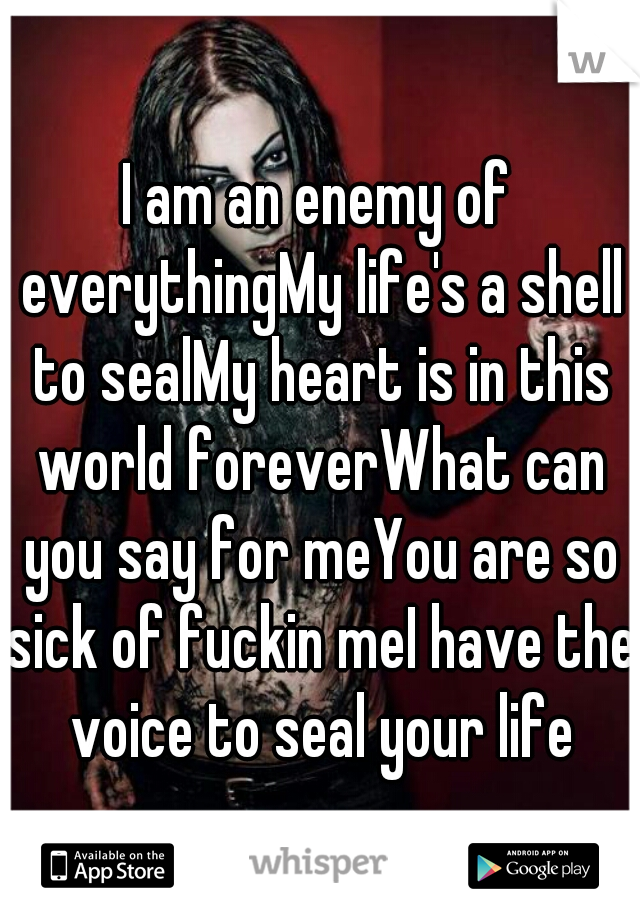 I am an enemy of everythingMy life's a shell to sealMy heart is in this world foreverWhat can you say for meYou are so sick of fuckin meI have the voice to seal your life
