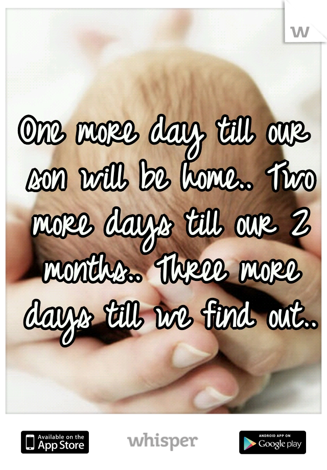 One more day till our son will be home.. Two more days till our 2 months.. Three more days till we find out..