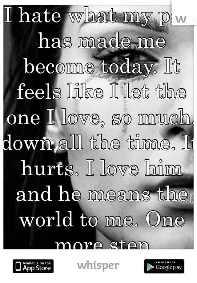 I hate what my past has made me become today. It feels like I let the one I love, so much, down all the time. It hurts. I love him and he means the world to me. One more step