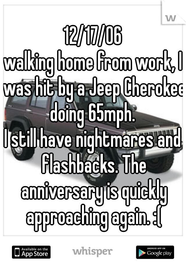 12/17/06 walking home from work, I was hit by a Jeep Cherokee doing 65mph.  I still have nightmares and flashbacks. The anniversary is quickly approaching again. :(