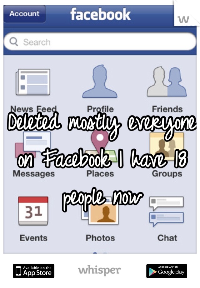 Deleted mostly everyone on Facebook I have 18 people now