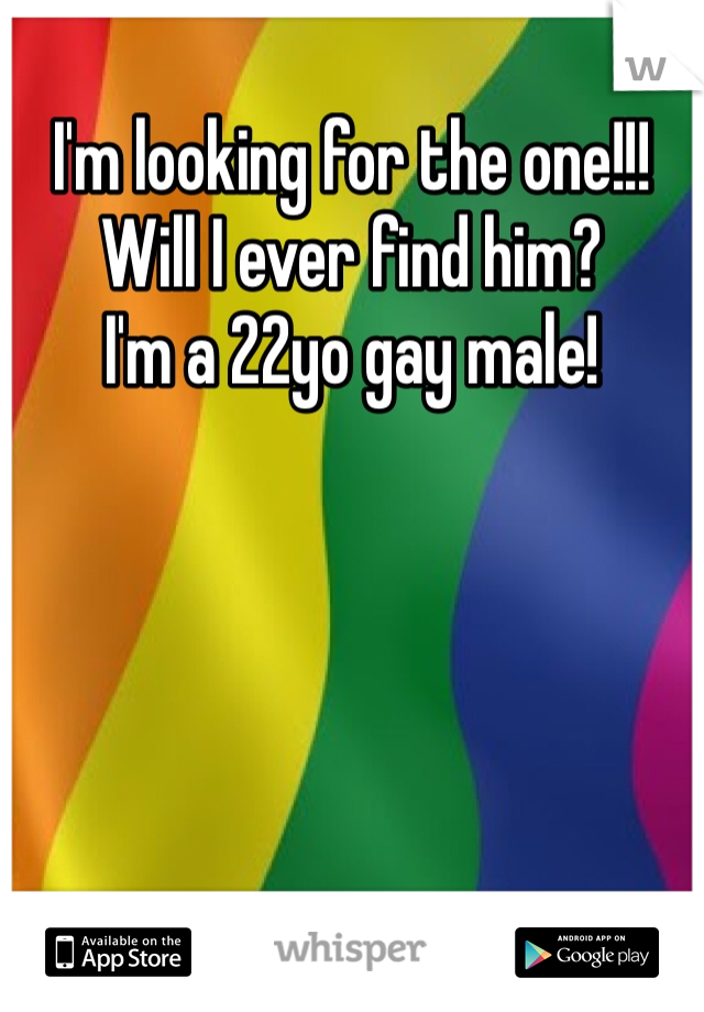 I'm looking for the one!!! Will I ever find him?  I'm a 22yo gay male!