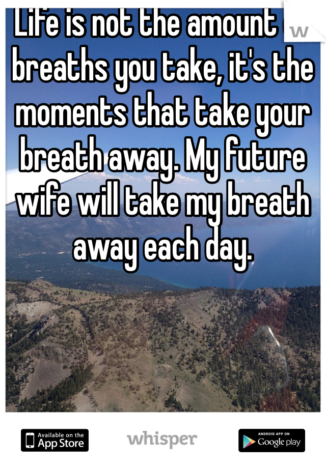 Life is not the amount of breaths you take, it's the moments that take your breath away. My future wife will take my breath away each day.