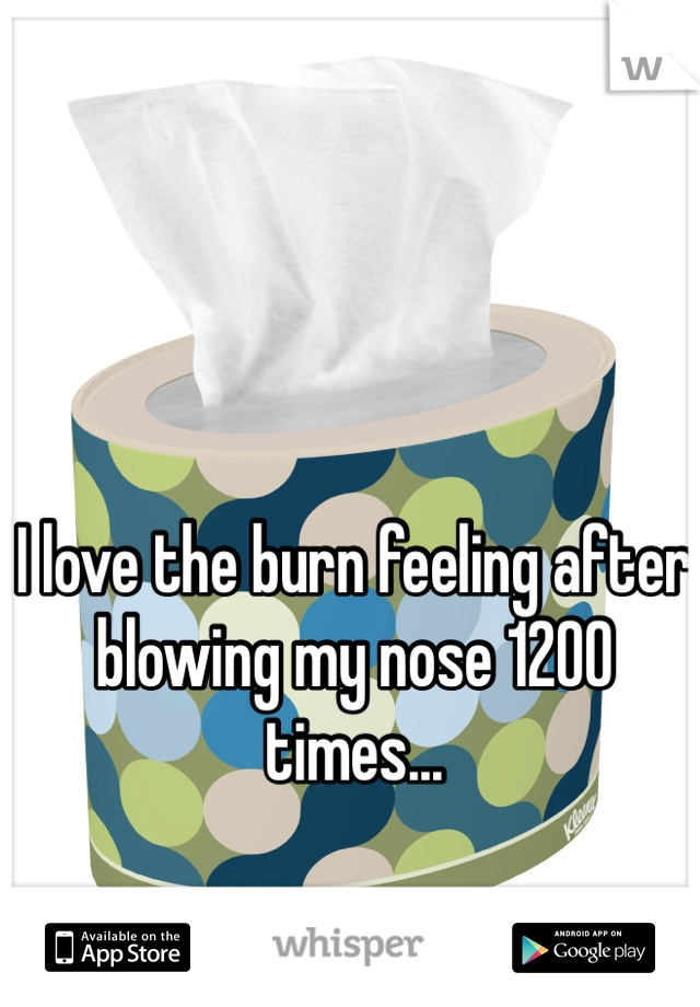 I love the burn feeling after blowing my nose 1200 times...
