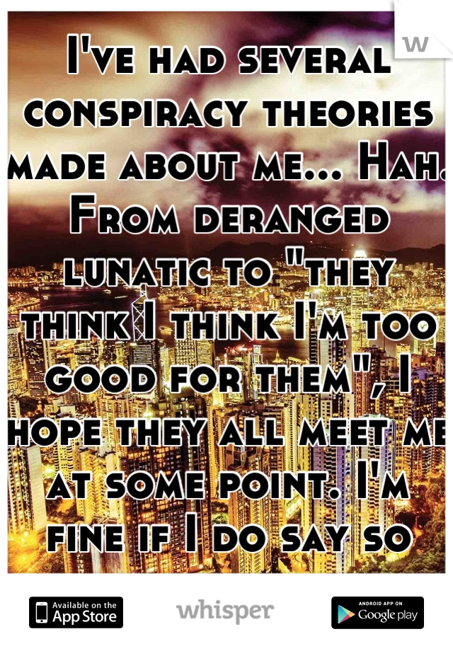 """I've had several conspiracy theories made about me... Hah. From deranged lunatic to """"they think I think I'm too good for them"""", I hope they all meet me at some point. I'm fine if I do say so myself."""