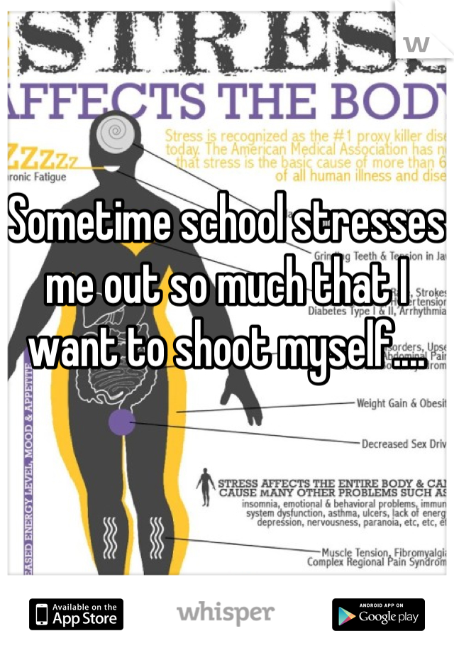 Sometime school stresses me out so much that I want to shoot myself....