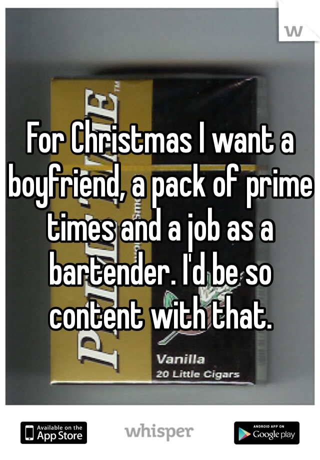 For Christmas I want a boyfriend, a pack of prime times and a job as a bartender. I'd be so content with that.