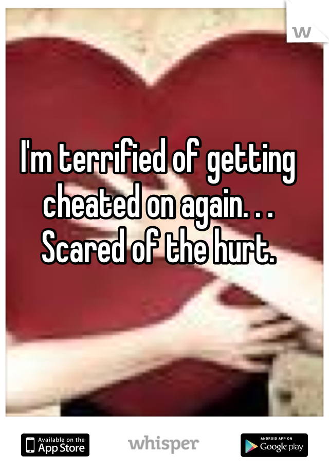 I'm terrified of getting cheated on again. . . Scared of the hurt.