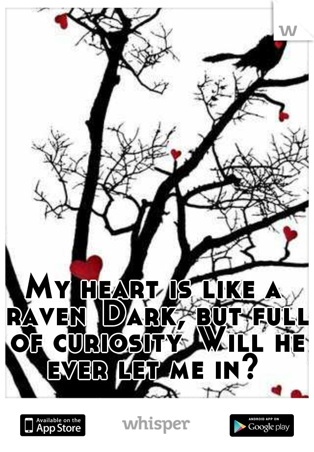 My heart is like a raven Dark, but full of curiosity Will he ever let me in?