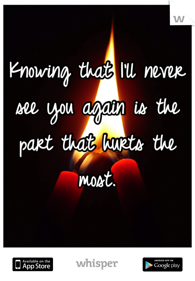 Knowing that I'll never see you again is the part that hurts the most.