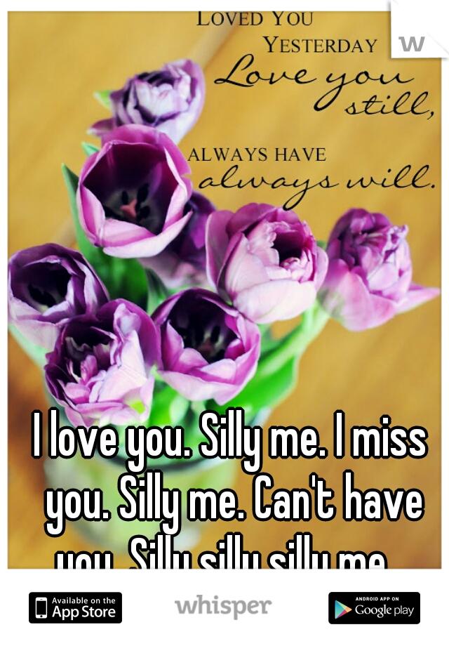 I love you. Silly me. I miss you. Silly me. Can't have you. Silly silly silly me.