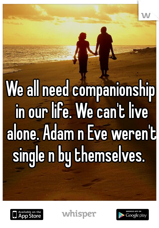 We all need companionship in our life. We can't live alone. Adam n Eve weren't single n by themselves.