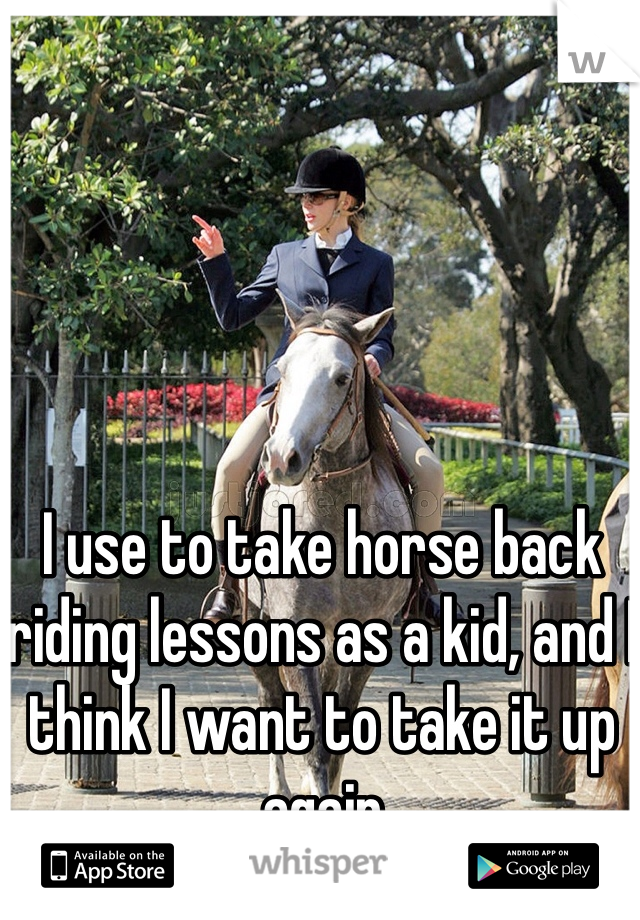 I use to take horse back riding lessons as a kid, and I think I want to take it up again