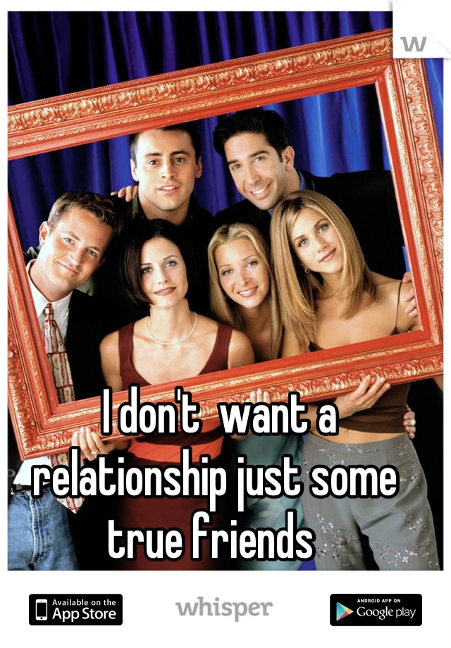 I don't  want a relationship just some true friends