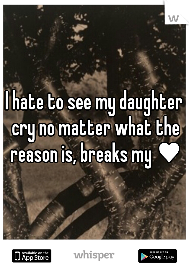 I hate to see my daughter cry no matter what the reason is, breaks my ♥