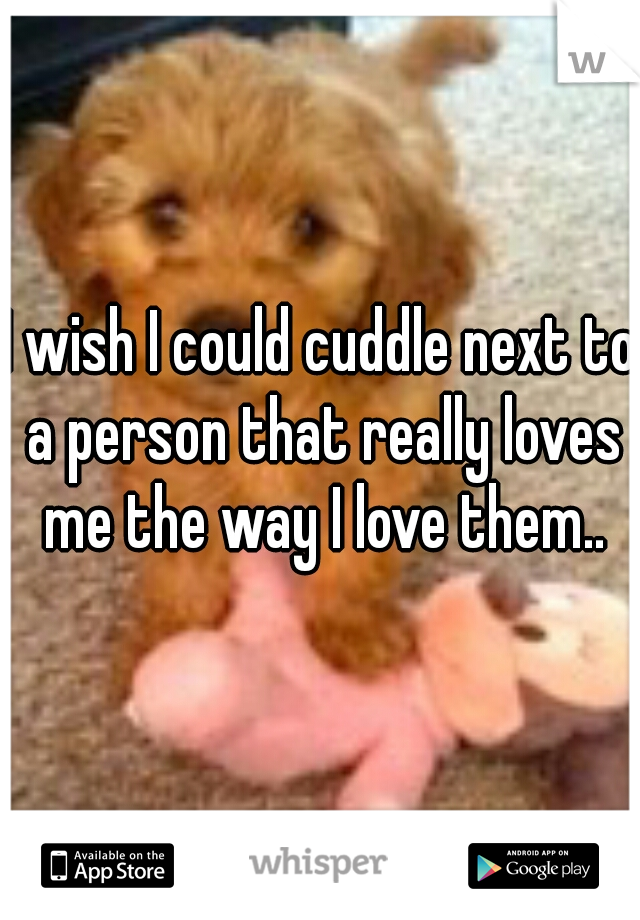 I wish I could cuddle next to a person that really loves me the way I love them..