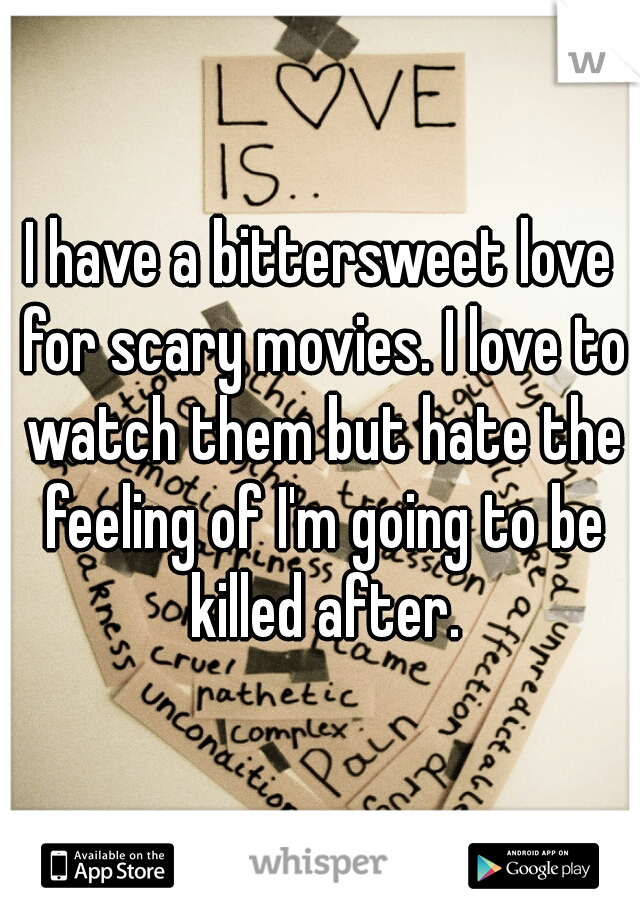 I have a bittersweet love for scary movies. I love to watch them but hate the feeling of I'm going to be killed after.