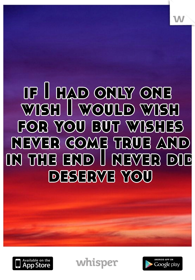 if I had only one wish I would wish for you but wishes never come true and in the end I never did deserve you