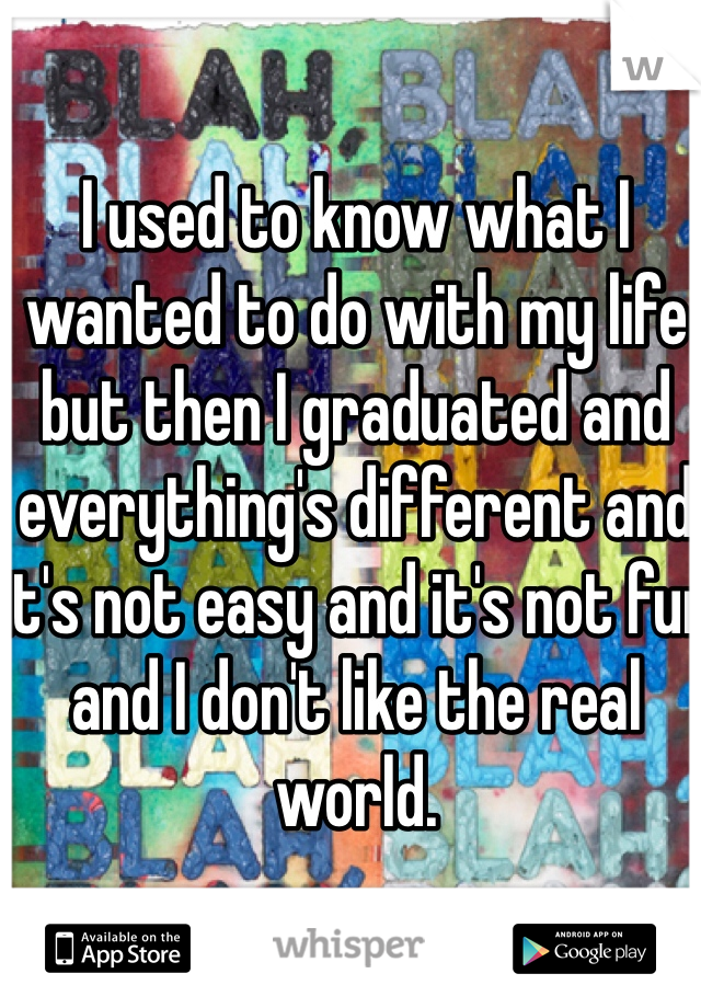 I used to know what I wanted to do with my life but then I graduated and everything's different and it's not easy and it's not fun and I don't like the real world.