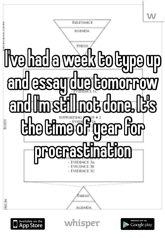 I've had a week to type up and essay due tomorrow and I'm still not done. It's the time of year for procrastination