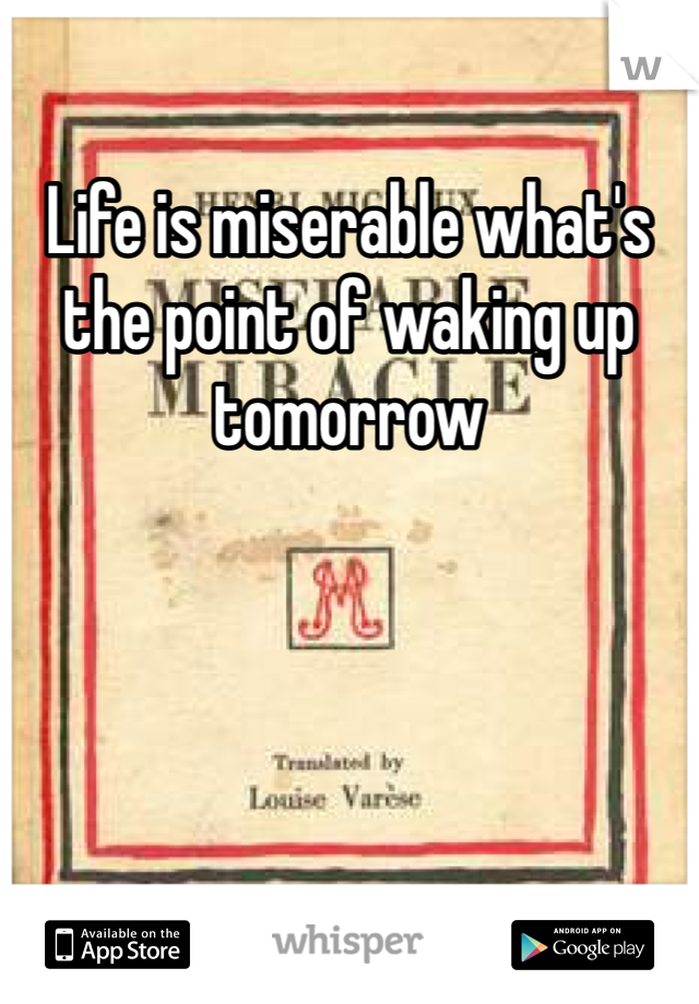 Life is miserable what's the point of waking up tomorrow