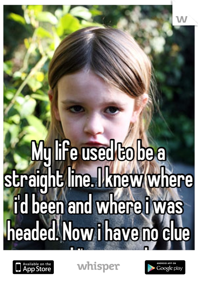 My life used to be a straight line. I knew where i'd been and where i was headed. Now i have no clue and I'm scared