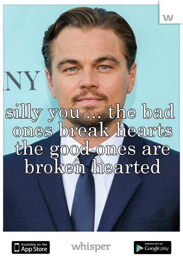 silly you ... the bad ones break hearts the good ones are broken hearted