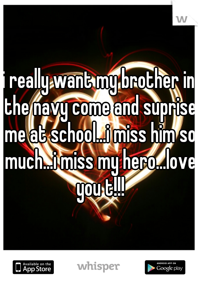 i really want my brother in the navy come and suprise me at school...i miss him so much...i miss my hero...love you t!!!