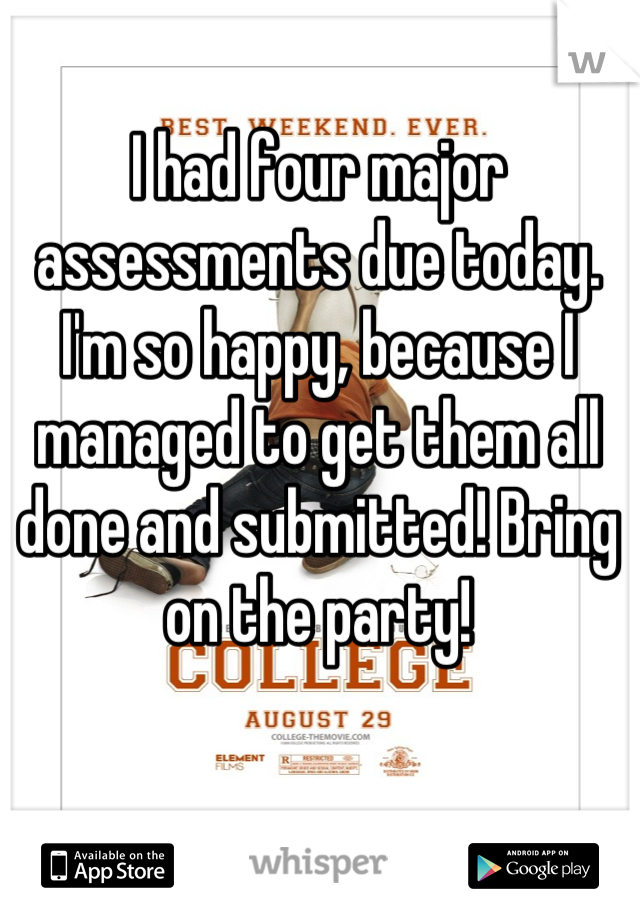 I had four major assessments due today. I'm so happy, because I managed to get them all done and submitted! Bring on the party!
