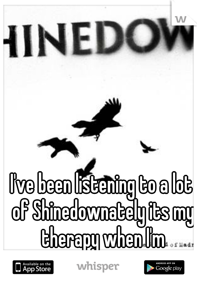 I've been listening to a lot of Shinedownately its my therapy when I'm depressed.