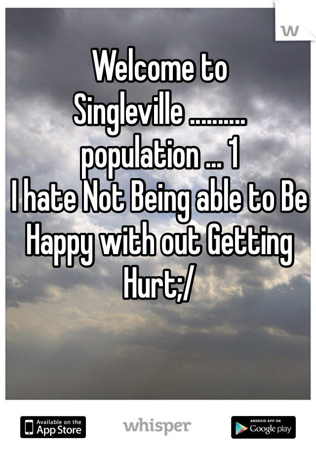 Welcome to Singleville .......... population ... 1  I hate Not Being able to Be Happy with out Getting Hurt;/