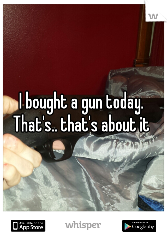 I bought a gun today.  That's.. that's about it