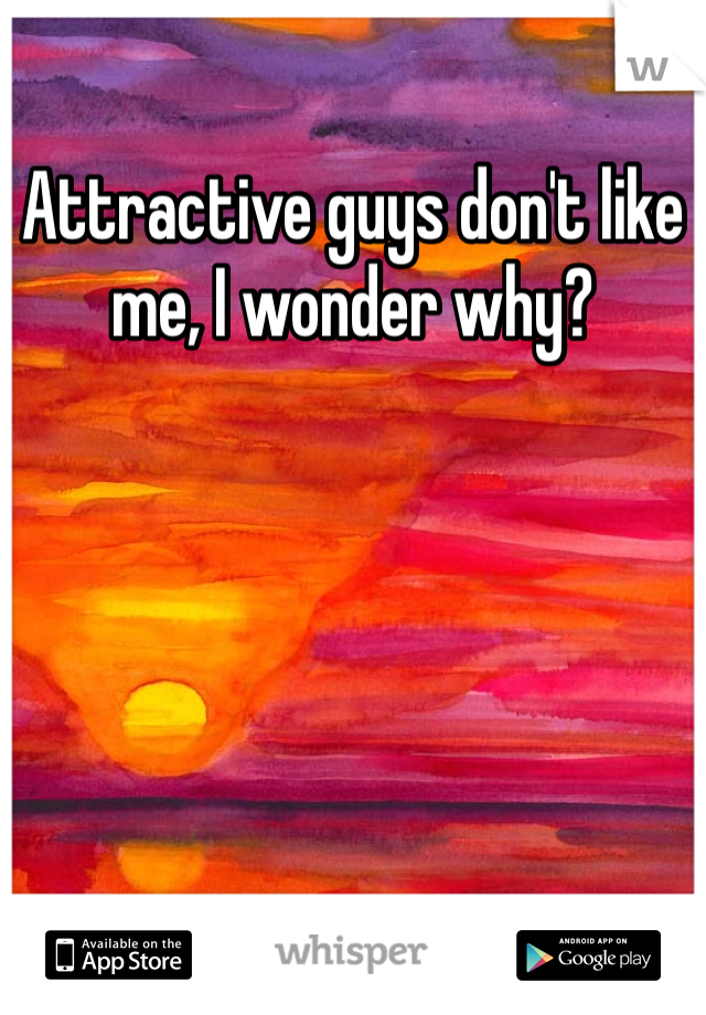 Attractive guys don't like me, I wonder why?