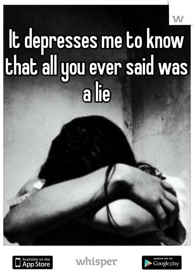 It depresses me to know that all you ever said was a lie