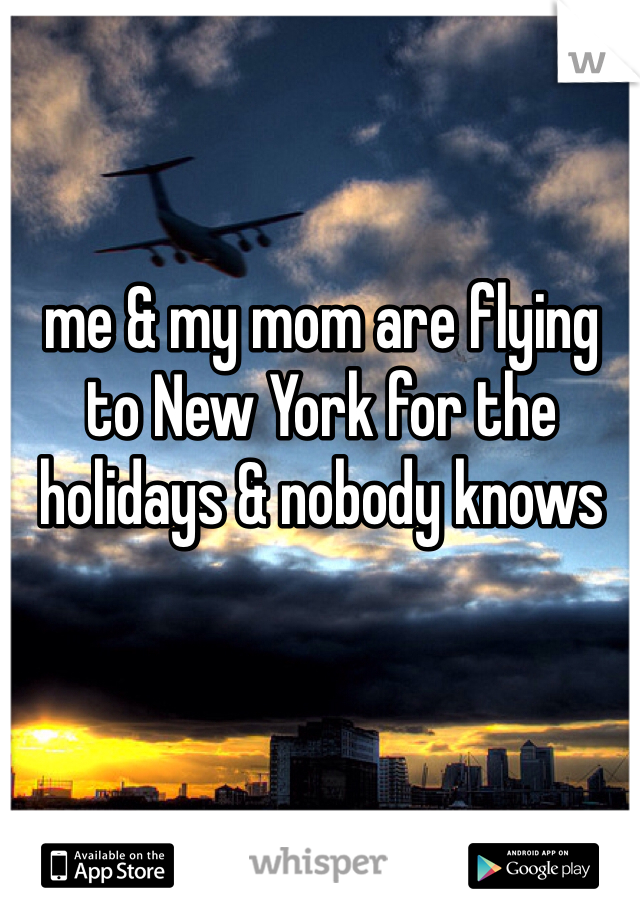 me & my mom are flying to New York for the holidays & nobody knows
